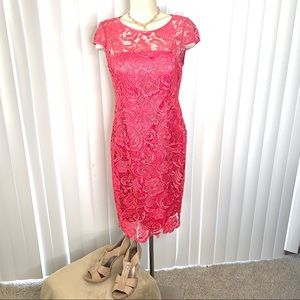 Adrianna Papell Pink Capped Sleeve Cocktail Dress